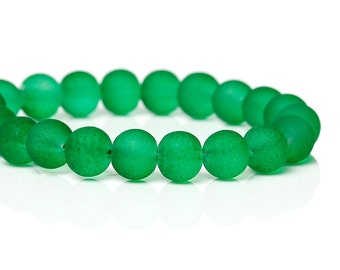 40 Green Frosted Round Glass Beads 6mm