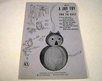 Vintage Joy Osterdahl Toy Owl Knitting Pattern