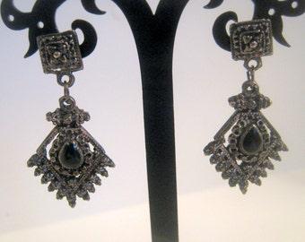 Vintage Mysterious Black Metal with Rhinestone Dangle Earrings