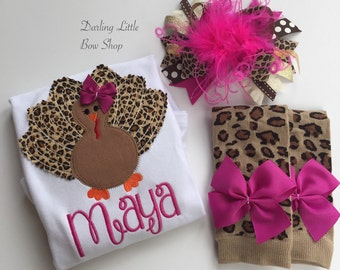 Baby Girl Thanksgiving Outfit bodysuit, bow and leg warmers - Turkey Glam - fuchsia and leopard print personalized outfit with GORGEOUS bow