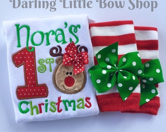 Baby Girl Christmas Outfit - My First Christmas - personalized Bodysuit & leg warmers - red, lime and emerald green reindeer girl