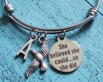 encouragement gift, graduation gift, motivational bracelet, she believed she could so she did bracelet, daughter, fitness motivation jewelry
