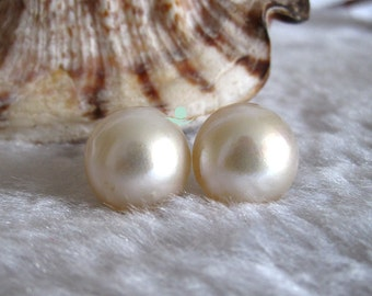 Stud Earrings - 13-14mm White South Sea Mabe Pearl Earrings Stud Earrings- Free shipping