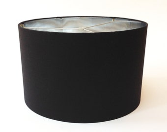 Drum Lamp Shade in Black Linen with Metallic Silver Lining