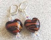 Venetian Glass Heart Earrings Tiger Look