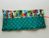 JUMBO TODDLER Crayon Roll, Crayon Holder, Holds 8 Count JUMBO Crayons,  Raccoons with Teal Polka Dot Pocket, Ready to Ship