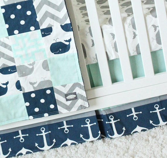 Whale Crib Bedding Navy And Mint Nautical Baby Bedding Navy