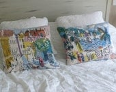 Pair Sally Corey needlepoint cushion covers French Riviera & Paris Charles Cobelle style