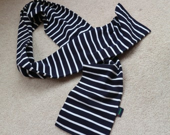 Nautical summer cotton scarf for men or women by Ermano navy white
