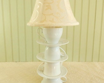 Teacup Lamp, Four White Tea Cups, Three White Saucers,  Alice in Wonderland Shabby Chic Country Beach Cottage