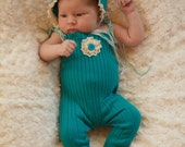 Newborn Teal Romper and Bonnet Photo Prop Upcycled romper flower headband