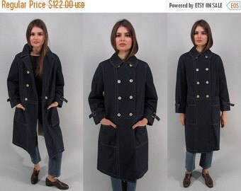 On Sale - Vintage 60s Nautical Mod Coat, Double-Breasted Coat, Navy Raincoat, All Weather Coat, Midi Raincoat Δ fits sizes: sm / md / lg