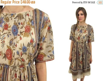 On Sale - Vintage 70s Disco Dress, Boho Pleated Dress, Micro-Pleat, Floral Dress, Bohemian, Sheer Dress Δ size: xs / sm