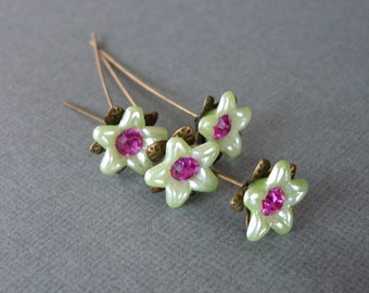 Light Green Flower  Headpins 2 Inch long - 4.