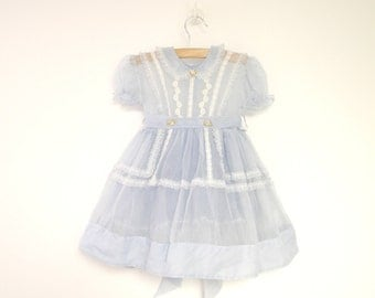 Vintage Baby Clothes, 1950's Powder Blue Chiffon Baby Girl Dress, Vintage Baby Dress, Blue Baby Dress, Size 24 Months