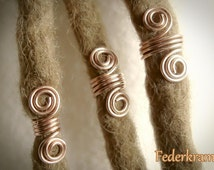 2x Real Bronze Viking beard beads, 4mm 6mm 8mm, dread hair jewelry, wire coil