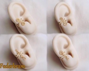 Tiny ear cuff brass, 4 designs available, nickel-free clip on, no piercing. gold bronze