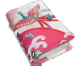 Large Bible Cover, Silk Kimono Fabric, Suitable for Hardback or Paperback, Fabulous Phoenix in Turquoise, UK Seller