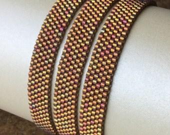 Triple Wrap Bracelet, Peyote Bracelet, Delica Seed Beads, Boho Chic, Gold Bracelet, Magnetic Clasp, Free Shipping
