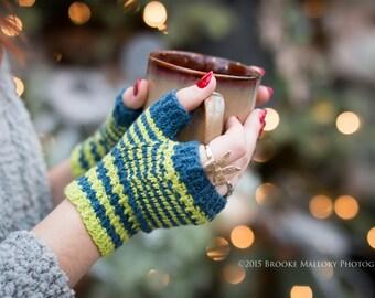 SEAHAWKS Monday Sunday Fingerless Gloves - Hand knit fingerless texting gloves: Custom Order
