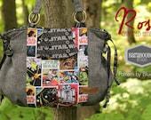 Rose Gathered Handbag made from Star Wars comics print fabric and Grey Suiting material  purse, bag