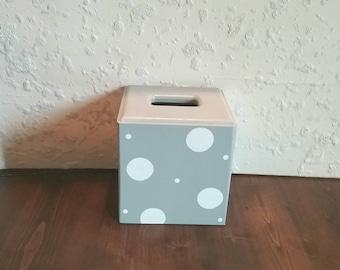 Tissue Holder - Grey with White Polka Dots - Grey Square Tissue - Grey Tissue Box - Square Tissue Cover - Bathroom tissue - Bathroom