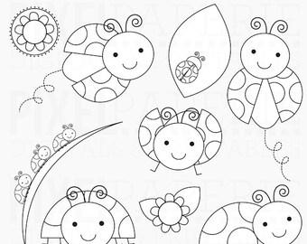 ladybug digital stamps lady bugs leaves leaf flowers insects - Lovely Ladybugs Digital Stamps