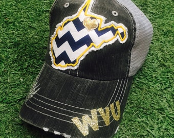 West Virginia Mountaineers WVU State Baseball Bling Ladies Womens Trucker Hat