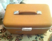 Vintage Shabby Chic Brown Train Case Forecast Hard Sided Travel  Carry On Luggage Storage