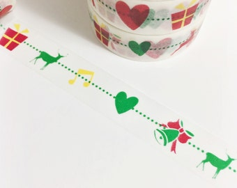 Bright Red Green Yellow Reindeer Music Notes Heart Bells Present Winter Christmas Washi Tape 11 yards 10 meters 15mm