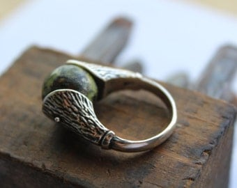 Sterling and Serpentine Stone Brutalist Ring -Handcrafted - one of the kind Ring- SIZE 7