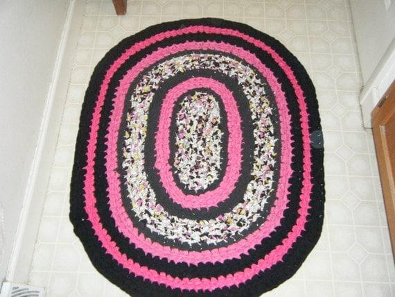 hot pink and black rug for etsy. Black Bedroom Furniture Sets. Home Design Ideas