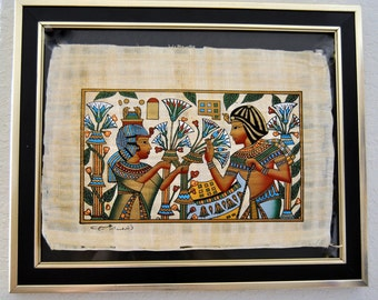 Ancient Egyptian Papyrus Art, Revival Home decor, Framed Wall hanging, Frescoes, Antique landscapes, people, Nature, Birds, Thebes