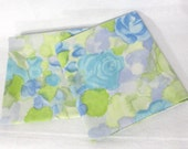 Pillowcases, Pair (2) of vintage sheet pillowcases - Watercolor blue roses