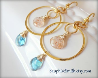 SUN & SEA Gemstone Earrings, Paraiba Blue Fluorite, Peach African Sunstone, Bali Gold Vermeil Hoops, blue green, light orange