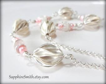 ROSEBUD Luxe Pale Pink Morganite Beryl Gemstones & Karen Hill Tribe Fine Silver Bead Necklace - 40% off