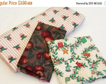 DELAYED SHIPPING thru 8/3 Multi Pack Cotton and Flannel Holiday Children About One Yard Total