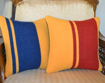 Yellowstone National Park Blanket fabric PILLOWS COVERS - Wool  pair of 16 x 16 pillow shams - stripes yellow gold blue rust