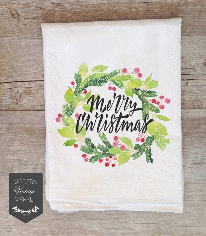 Christmas Towels Tea Towels Kitchen Towels Flour Sack