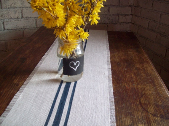Navy Blue Striped Burlap Table Runner 10 X By