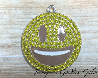 36mm, Smiley Face Rhinestone Pendant, Emoticon Rhinestone Pendant, Emoji Pendant, Yellow Smile Face, Chunky Necklace, Emoji Necklace