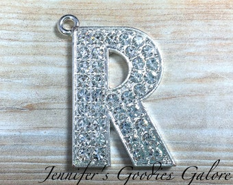 Initial Letter Rhinestone Pendant, 34mm, Letter R Pendant, Alphabet Letters, Rhinestone Letters, Chunky Necklace Beads