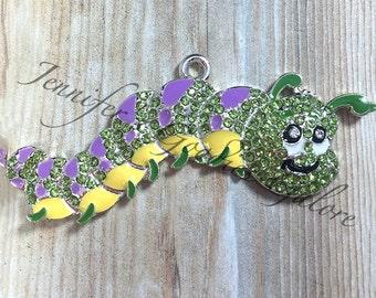 Rhinestone Caterpillar Pendant, 58*45mm, Insect Pendant, Caterpillar, Custom Made, Chunky Bead Necklace, Chunky Necklace, DIY Necklace
