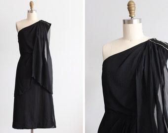 1920s Black One Shoulder Silk Chiffon  Dress / Louise Dress