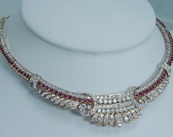 Royal Vintage 14K Yellow Gold 5.60ct Diamonds 2.88ct Rubies Choker Necklace