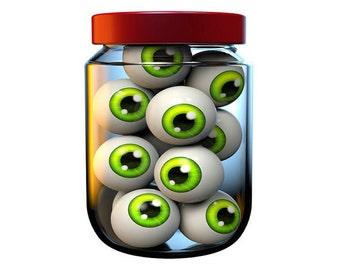 Jar of Eyeballs Halloween Image, Eyeball Image, Scary Halloween Image,Large Eye Art, Transparent Cutout, Teen Room Décor, Wall, Home Décor