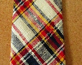 vintage 60s woven silk plaid necktie mr blackwell  free shipping