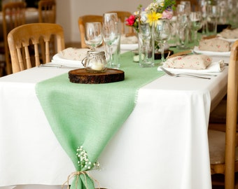 Mint Green Burlap Table Runner Mint Wedding Decor Seafoam Table Runners Mint Table Decorations Rustic Style