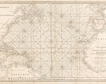 1792 Nautical Chart of the Atlantic Ocean