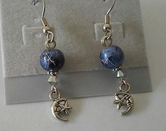 Moon and Star Earrings with Swarovski Crystal Accents